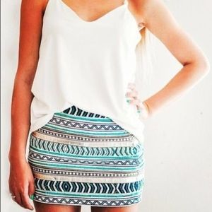 Zara Aztec Cream Aqua Gold Bead Embroidered Skirt